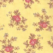 Moda Lario - 2541 - Medium Floral Sprig on Light Yellow Background - 100% Cotton Fabric 44003-18